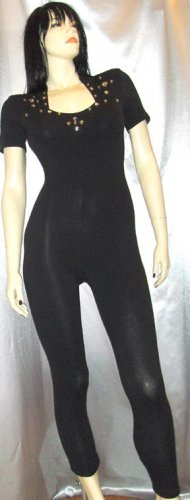 MEOW 80s BAD GIRL Black Spandex CATSUIT Rhinestones and Studs S. rockin' roll rebel