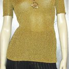 GLITTERAMA ATOMIC SPACE AGE MOD 60s Gold Metallic Lurex Stretch Top disco glam