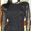 VINTAGE VAMP Ruched Black Lace Sexiest WIGGLE PINUP DRESS S/M