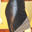 TOTAL VAMP Slick Black Faux Leather High Waisted PENCIL SKIRT w/ Leopard Trim 5/6