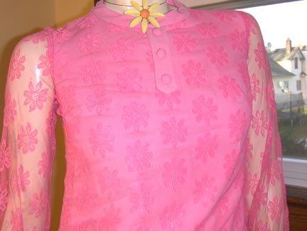 60s MOD LOLITA NEON PINK Lace Go Go MINI DRESS  S/XS vintage glam
