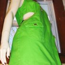 80s ELECTRO NEON GREEN PEEK-A-BOO Cutout DENIM MINIDRESS L