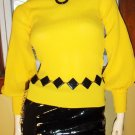 Get MELLOW In YELLOW BALLOON PUFF SLV Ultimate MOD Girl Skinny Top S/M 60s 70s