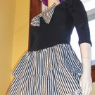 80s RAMPAGE PUNK ROCK Rebel Girl Ruffle BOW MINIDRESS S.