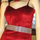 Vintage Scarlet Red Velvet PINUP Pencil SLIPDRESS XS