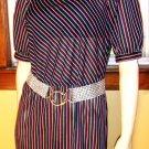 80s ELECTRO NEON Rainbow Stripes PUFF SLV Dress disco glam M/L