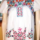 Vintage 70s Hippie Girl MEXICAN HAND EMBROIDERED Flutter Slv Long Tunic Dress