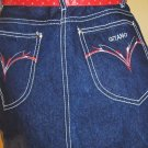 80s FASHIONISTA Designer Style Long Blue Denim Pencil Skirt GITANO 9/10