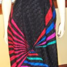 FLASHY 80s ELECTRO GLAM STARBURST OP ART SKIRT SZ 14