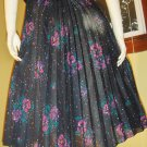 BOHO Babe meets DISCO Diva Black Floral Accordion Pleated Vintage Skirt S/M 70s 80s