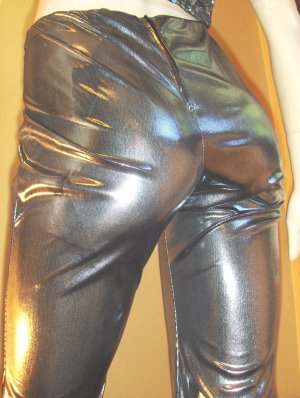Sexy SPACE-AGE GIRL Liquid Metallic Silver 90s GLAM Pants M. NWT