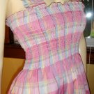 70s Flirty Lolita Pink Plaid Smocked Pinafore Sundress S/M