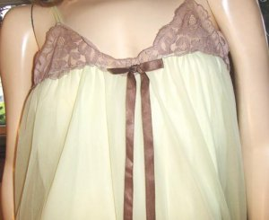 60s Double Chiffon SHEER Nylon vintage Babydoll Nightgown L AVIAN
