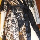 Vintage 70s Miss Elaine Sheer Wicked Black Lace Flutter Slv Robe and JEZEBEL Panty M.