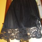 Vintage Vamp 60s VANITY FAIR Sexy Black Nylon Tricot Lace Hem Half Slip L