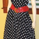 PINUP RETRO ROCKIN 50s Style POLKA DOT Circle Skirt SWING DRESS L