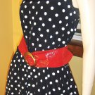PINUP RETRO ROCKIN 50s Style POLKA DOT Circle Skirt SWING DRESS L