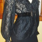 Vintage Gothic Lolita Wicked Sheer Black Lace Victorian Style Frilly Ruffle Blouse XL