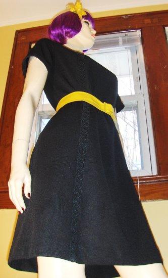 Vintage Vixen Mod 70s Black Skinny Sheath Dress HOUSE OF SHROYERS M.