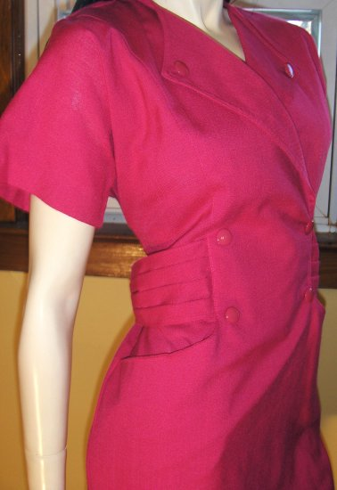 Vintage 80s Sexy Sophisticated Secretary HOT PINK Pencil Dress S/M