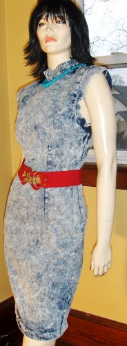 80s Vintage Acid Wash Formfit Curvy Denim Mini Dress S/M sexy pinup