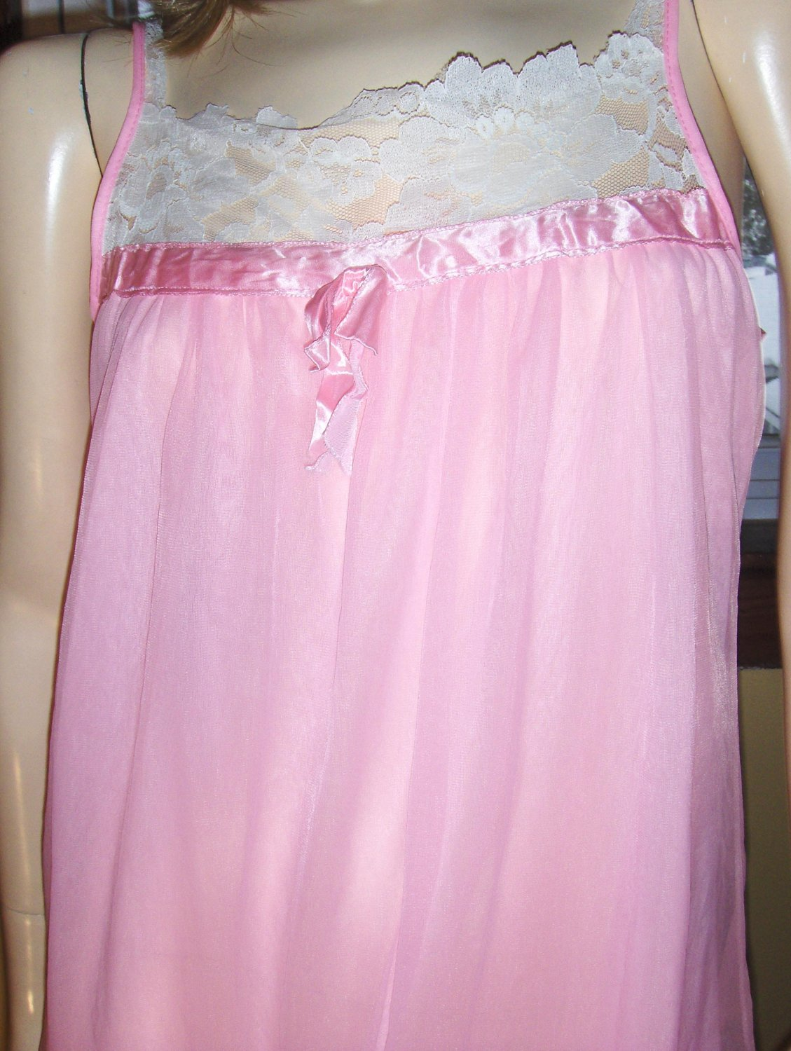 Glam Pink Double Nylon Sheer Chiffon Nightgown vintage 60s 70s S/M