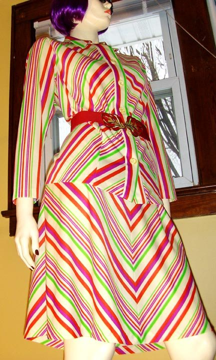 70s KRAZY KOOL Kandy Fruit Stripes Outfit Aline Skirt and Blouse Set M/L