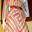 70s KRAZY KOOL Kandy Fruit Stripes Outfit Aline Skirt and Blouse Set M/L