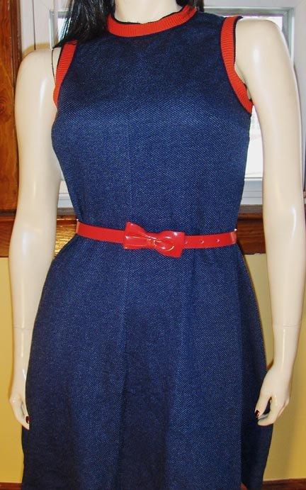 70s Flirty Rockabilly Gal Denim Look Mini Dress S/M