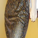 80s ELECTRO DISCO GLAM Gold Lamé  Tiger Striped Pencil Skirt MINT NOS M.