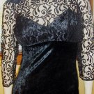 80s Vampy Vixen Fredericks of Hollywood Sexy Black Velvet Lace Party Mini Dress M/L