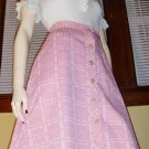 MOD Vintage 70s High Waisted Pink Buttondown Aline Schoolgirl Skirt