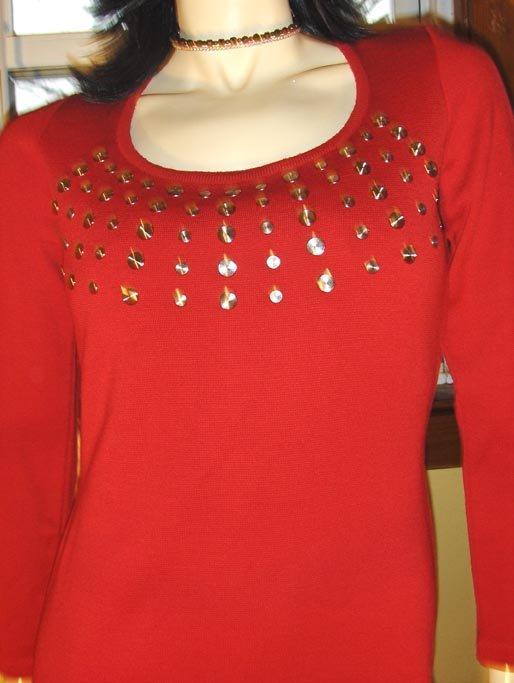 Vintage 80s Rocker Girl Racy Red Studded Formfit Pencil Dress S/M