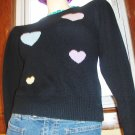 I HEART THE 80s Vintage Black Puff Slv Hearts Print Sweater Top L