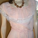 Sweet 70s Boho Hippie Girl Gauze Peach Peasant Ruffle Sundress M