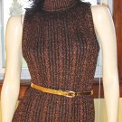 80s DISCO GLAM Copper Metallic SEXY Formfit Mini SWEATER DRESS M. vintage vamp