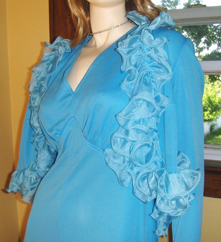 70s Girly Glam Bodacious Blue Maxi Party Dress w/ Frilly Ruffle Jacket 2 Piece Set M/L