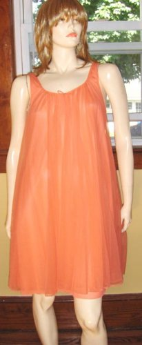 Vintage 60s Glam Double Nylon Sheer Chiffon Babydoll Nightgown Peach M