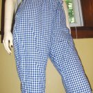 Vintage Rockabilly Gal Blue Gingham Capri Pin Up Pants Size 18 XL XXL