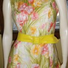Vintage 60s Watercolor Floral Garden Print Shift Dress M.