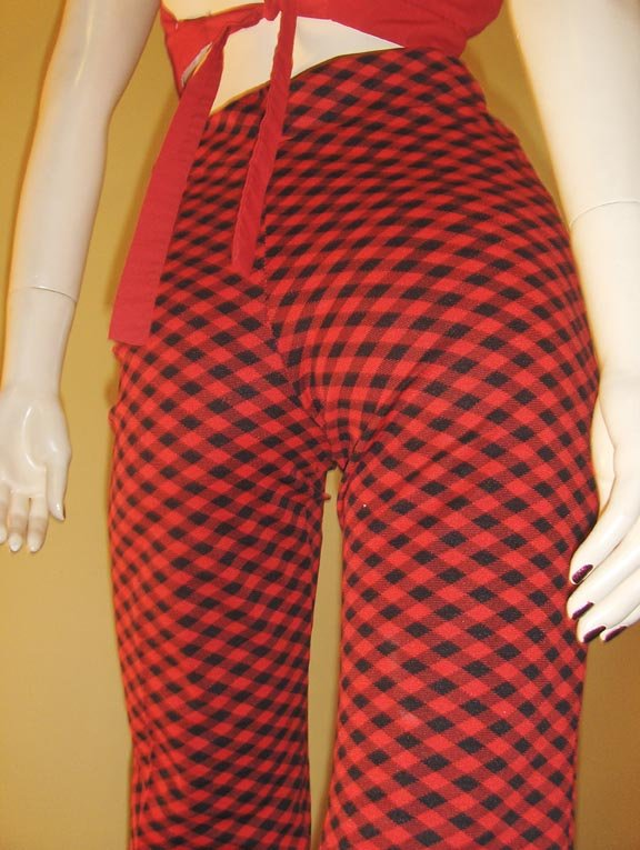 70s Swanky Hipster Red and Black Checkered High Waisted Pants S. rockabilly punk