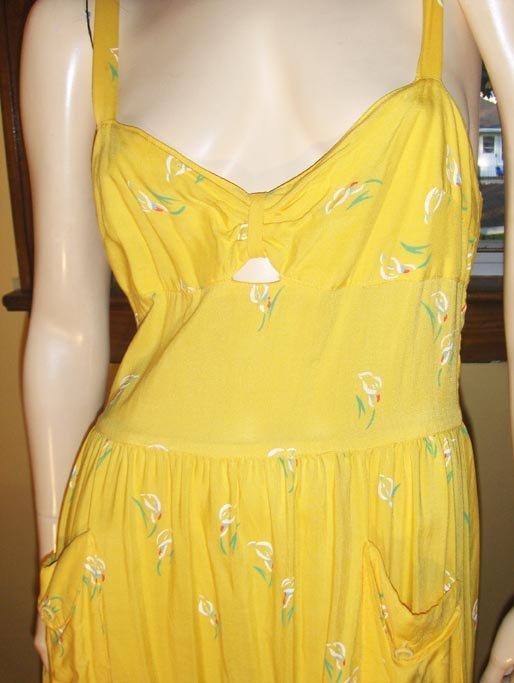 Vintage Boho 70s Sunshine Yellow Flirty Flower Sundress PLAIN JANE S.