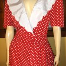 RETRO 50s I LOVE LUCY STYLE Polka Dot FULL CIRCLE SKIRT PINUP Party Dress full sweep Size 16