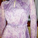 Sophisticated Lady Vintage 70s Lavender Floral Accordion Pleat Dress S.