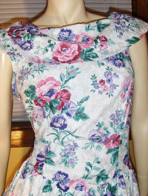 Retro 80s Style Floral Party Mini Dress 13/14