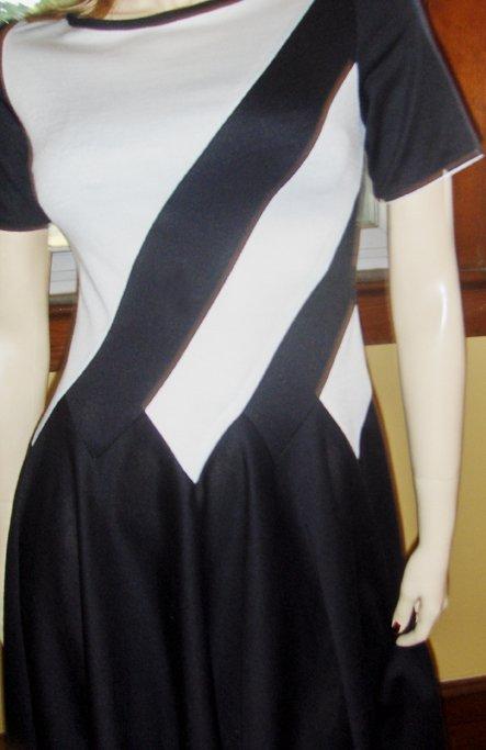70s Cheerleader Style Black and White Costume Mini Dress S.