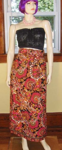 Ultimate Mod Flower Power Psychedelic Hippie Maxi Skirt S XS 60s 70s