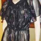 Vintage Sexy 70s Sheer Black Floral Flutter Sleeve Boho Babe Dress