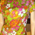 70s Psychedelic Neon Flower Power Mod Shift Mini Dress M.