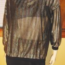 70s Glitter Diva Shimmery Electro Glam Disco Spectrum Party Blouse Top L.